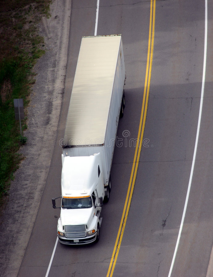 Tractor Trailer Semi Truck on Road View from Above royalty free stock photos