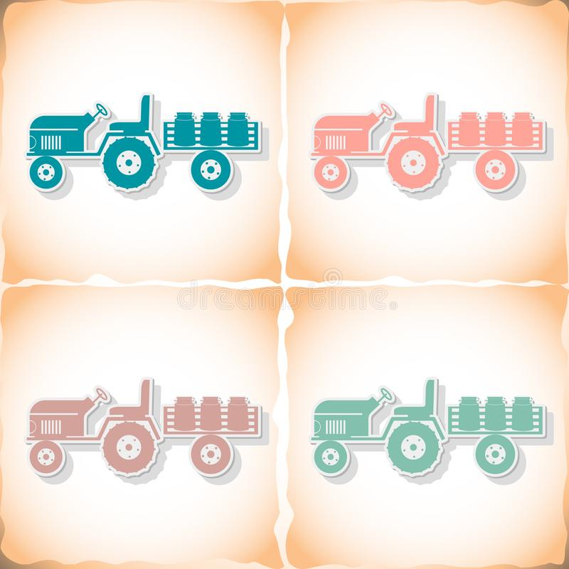 Tractor trailer transporting milk. Flat sticker with shadow on old paper. Vector illustration royalty free illustration