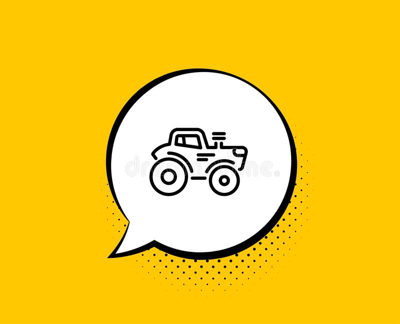 Tractor transport line icon. Agriculture farm vehicle sign. Vector. Tractor transport line icon. Comic speech bubble. Agriculture farm vehicle sign. Yellow vector illustration