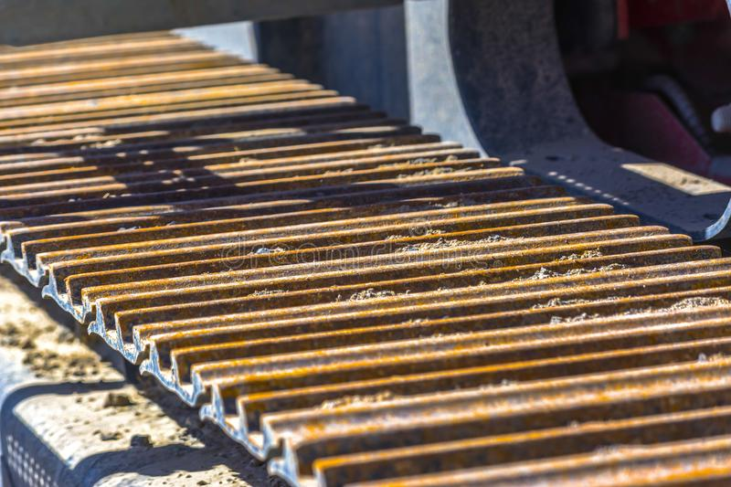 Tractor tread seen on a dump truck. Detail photos of a dump truck at an excavation zone in an area of new home construction stock photo