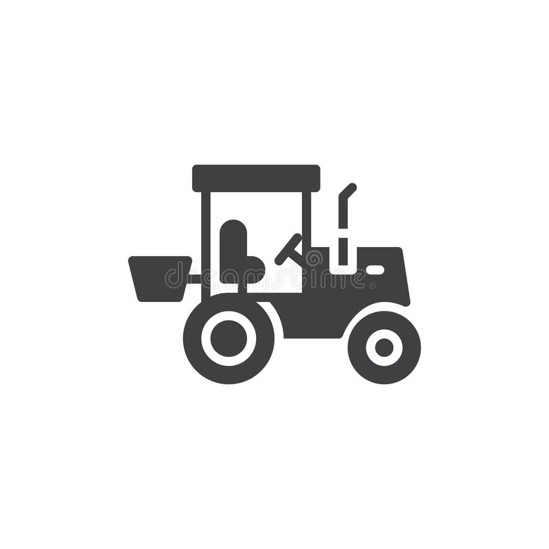 Tractor truck vector icon. Filled flat sign for mobile concept and web design. Tractor glyph icon. Construction machine symbol, logo illustration. Pixel vector illustration