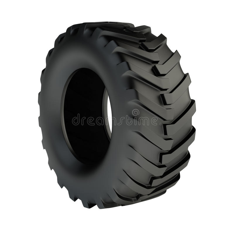 Tractor tyre. Isolated 3d black tractor tyre royalty free illustration