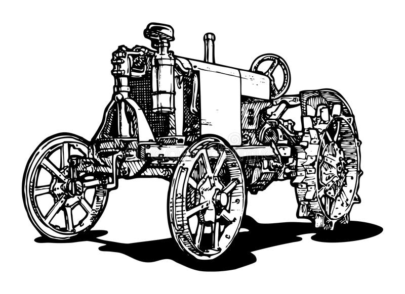 Tractor. Vector drawing of tractor stylized as engraving vector illustration