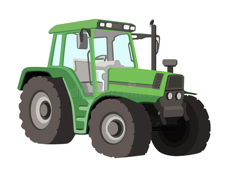 Tractor Vector Illustration. A detailed illustration of a green tractor royalty free illustration