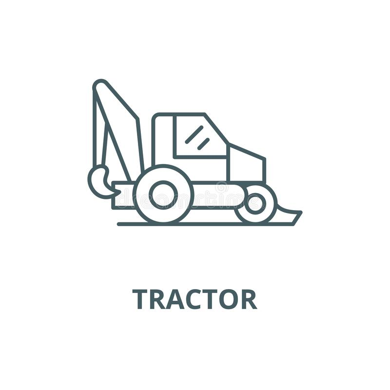 Tractor vector line icon, linear concept, outline sign, symbol. Tractor vector line icon, outline concept, linear sign stock illustration