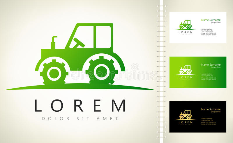 Tractor vector logo. Vector with business card template vector illustration
