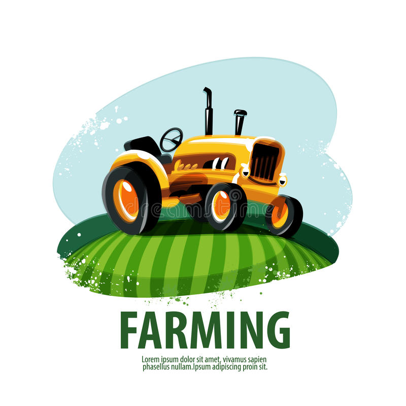 Tractor vector logo design template. harvest or. Cartoon colored tractor on the field. vector illustration vector illustration