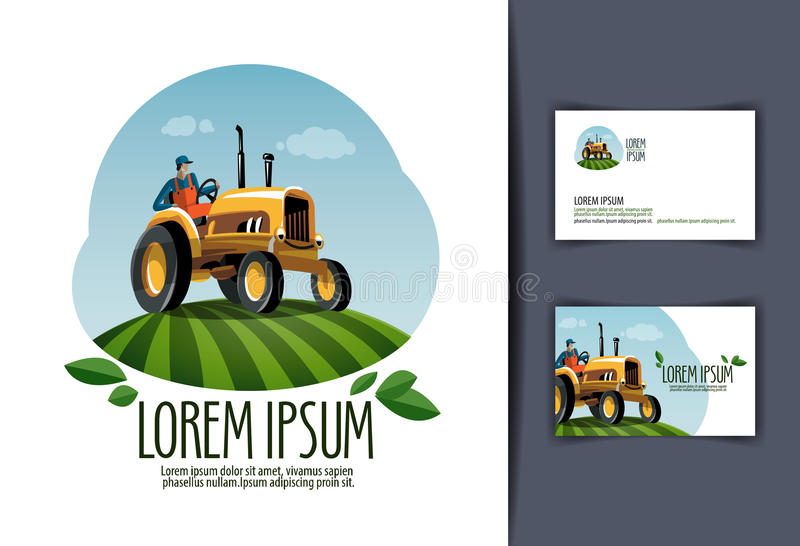 Tractor vector logo design template. harvest or royalty free illustration