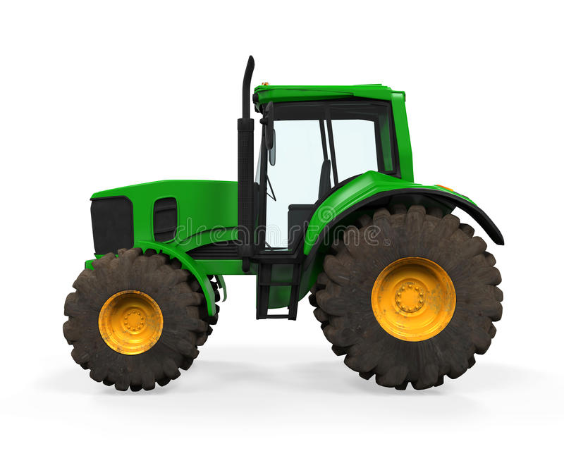 Tractor verde aislado ilustración del vector