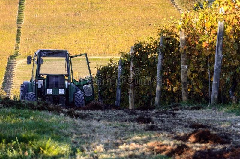 Tractor in the vineyards of barolo piedmont, italy royalty free stock images