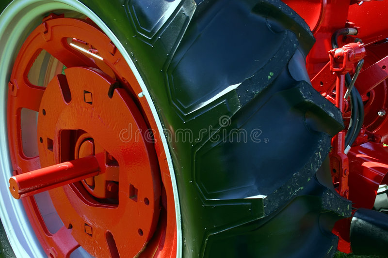 Tractor Wheel. This is a close-up of a tractor wheel stock photography