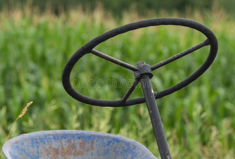 Tractor wheel. Tractor steering wheel near corn field royalty free stock images