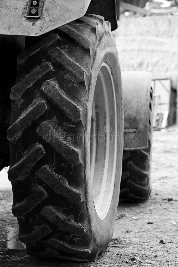 Tractor Wheels. Black and White Shot of Tractor Wheels stock photos