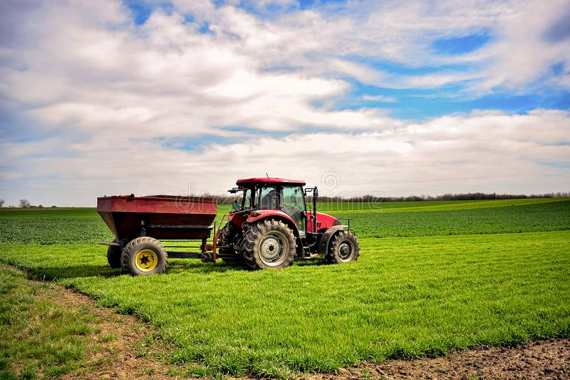 Tractor work on the field. Applying fertilizer in spring. Agriculture landscape. Tractor spreading mineral fertilizer in wheat field stock photography