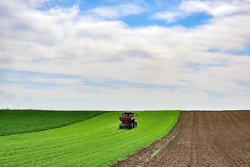 Tractor work on the field. Applying fertilizer in spring. Agriculture landscape. Tractor spreading mineral fertilizer in wheat field royalty free stock images