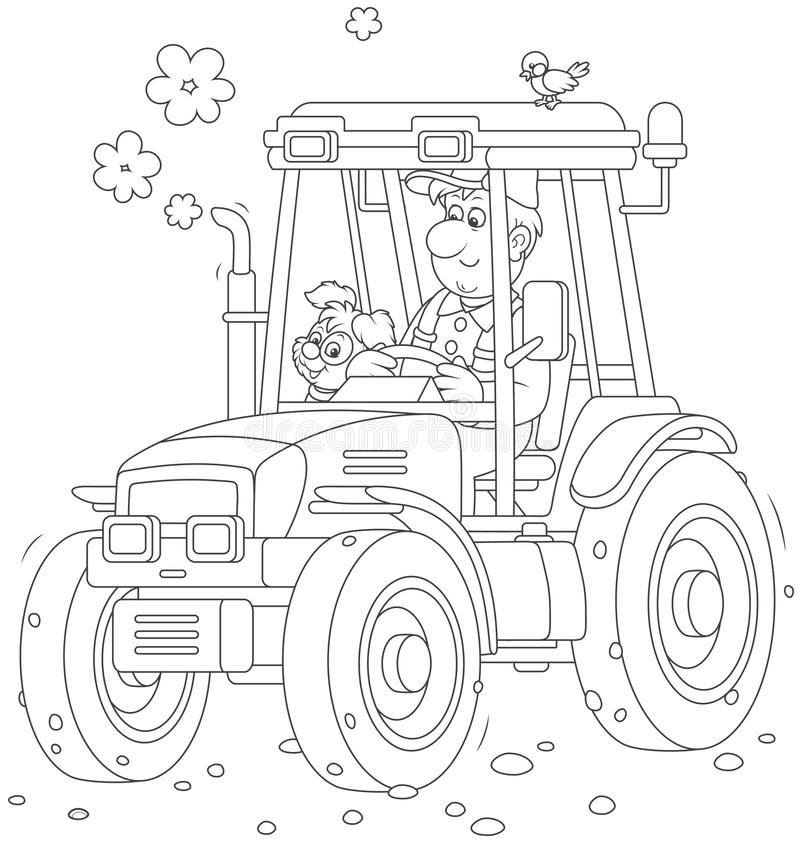 Tractorbestuurder met een kleine hond royalty-vrije illustratie