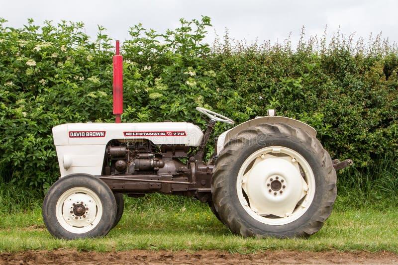 Tractores blancos marrones de un David del vintage parqueados para arriba foto de archivo