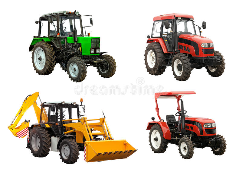 Tractors and bulldozer-excavator over white stock photos