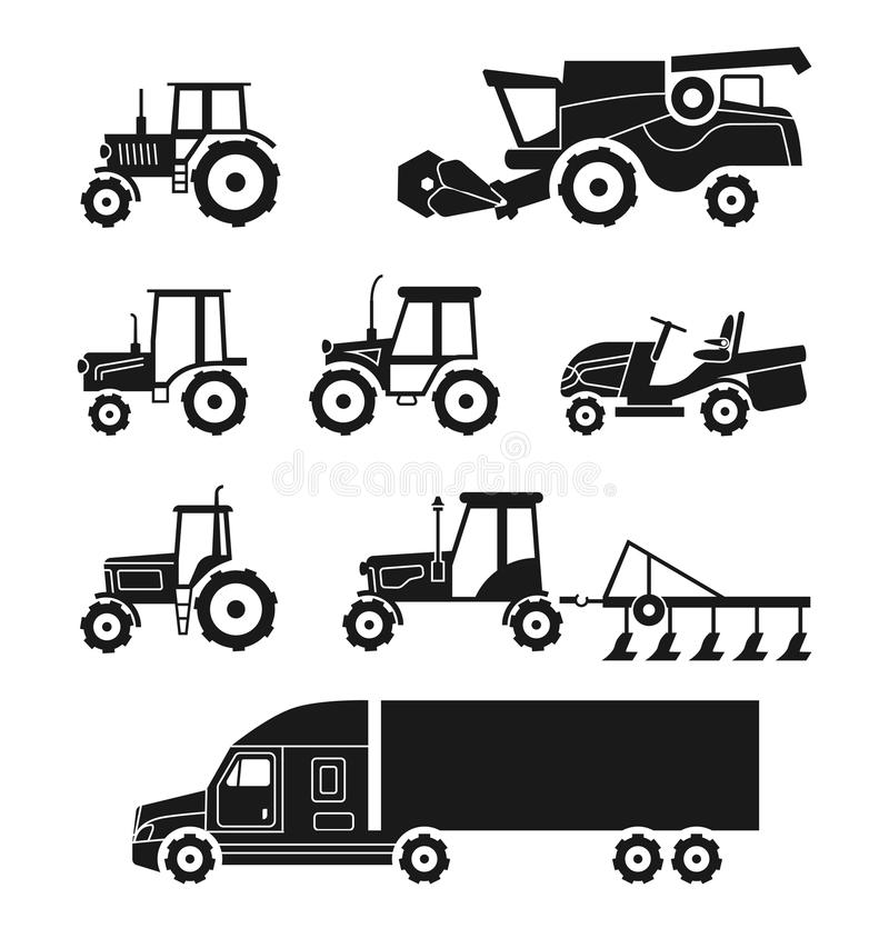 Tractors and combine harvesters vector icons set. Tractors and combine harvesters icons set. Agricultural transport collection. Transportation machine lorry vector illustration