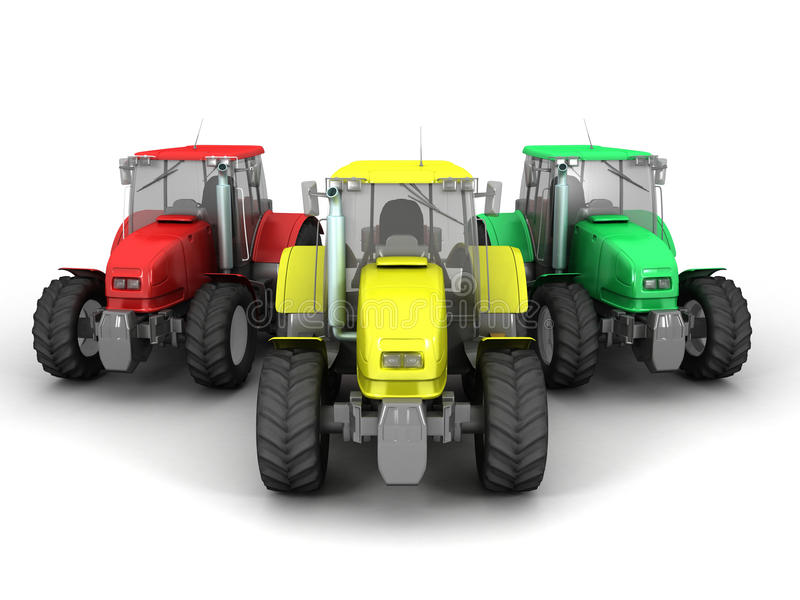 Tractors. 3D image of tractors on white background stock illustration