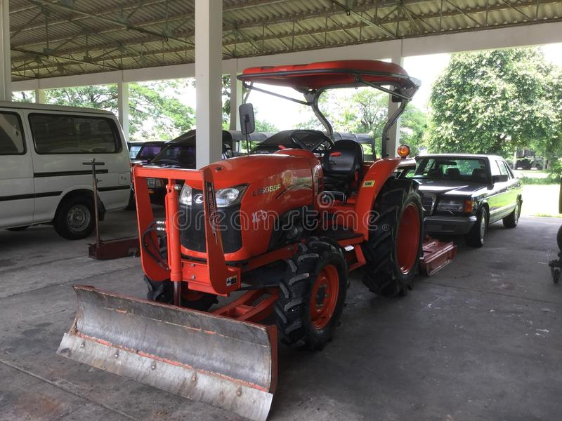 Tractors are doing road. In Bangkok thailand stock image