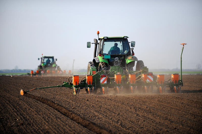 Tractors laying seeds on field. Rear view of two tractors laying seeds on field in countryside royalty free stock image