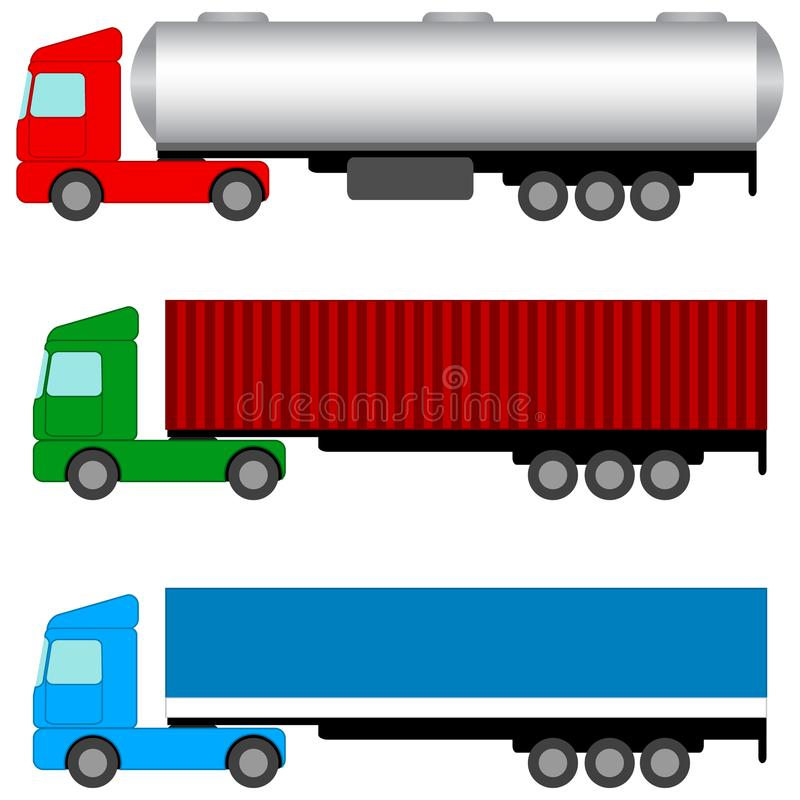Tractors and trailers. Isolated objects. Vector Image. royalty free illustration