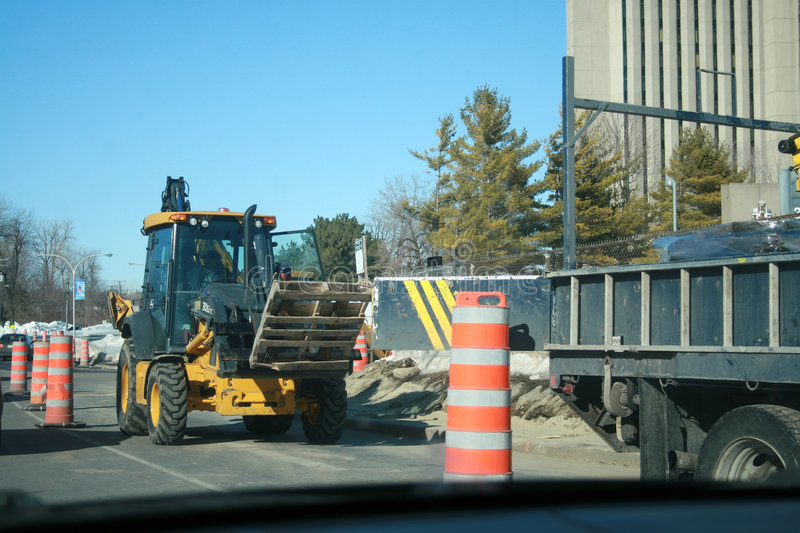 Download Tractors, Trucks And Pylons Stock Image - Image of dividers, construction: 4637927