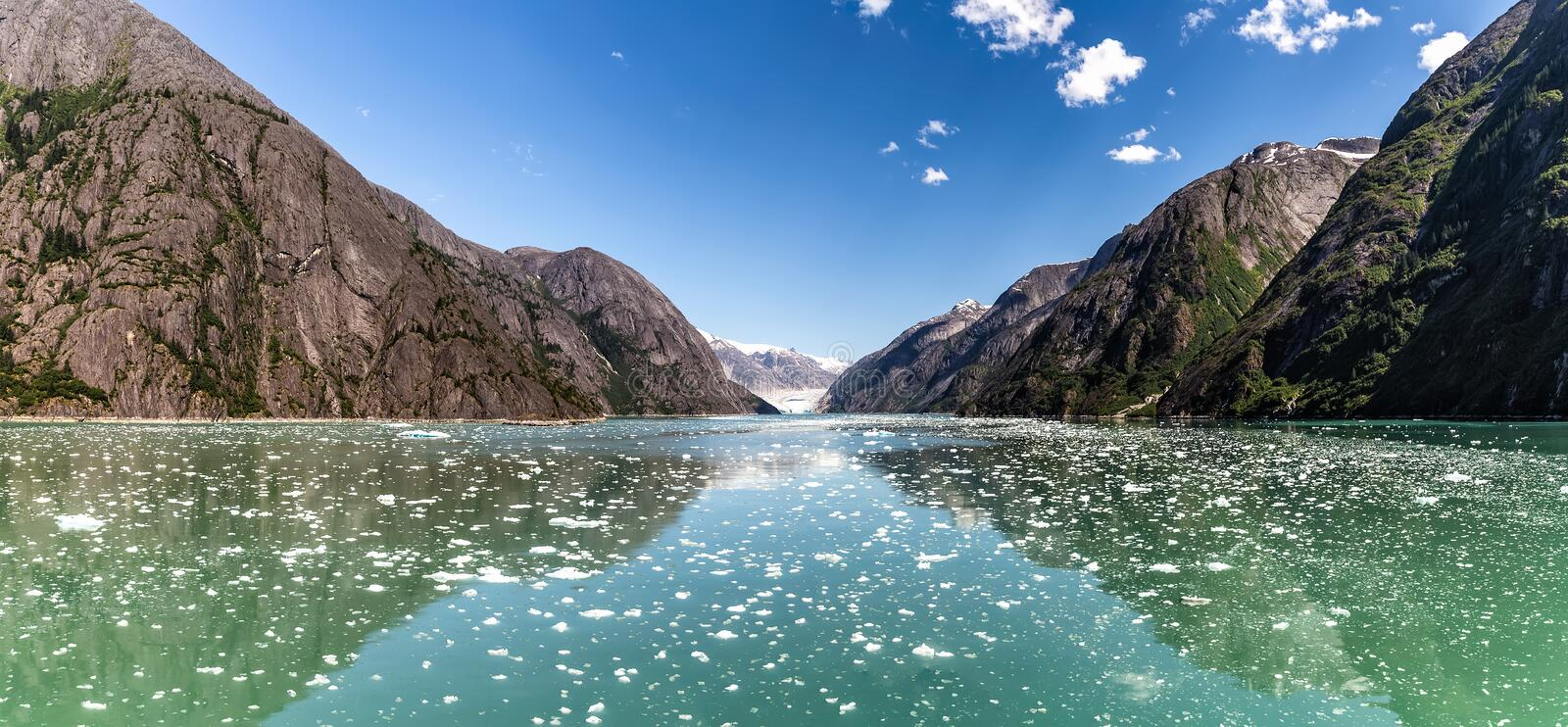 Tracy Arm Fjord in Alaska during summer. Panorama. royalty free stock image