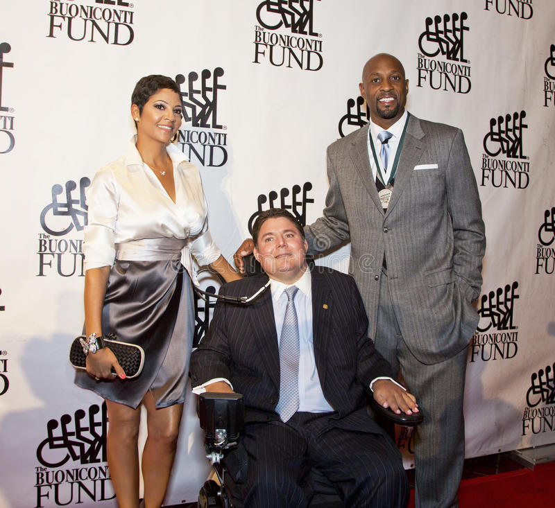 Tracy die, Marc Buoniconti, Alonzo Mourning rouwt stock fotografie