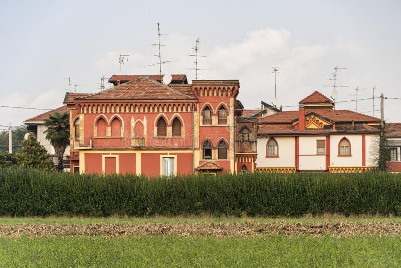Tradate Lombardije, Italië: oude gebouwen stock afbeeldingen