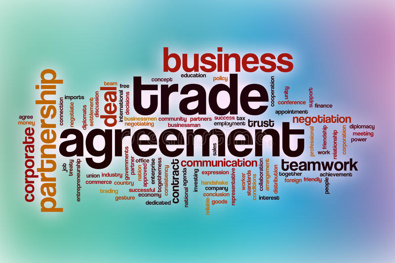 Trade agreement word cloud with abstract background. Trade agreement word cloud concept with abstract background stock illustration