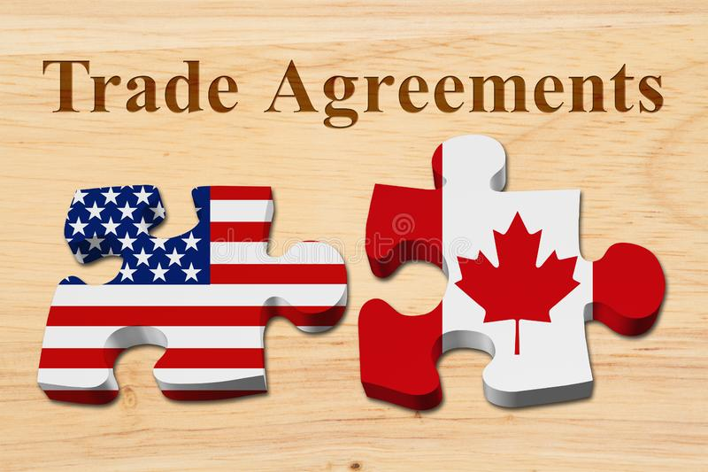Trade Agreements between USA and Canada. Two puzzle pieces with the flags of USA and Canada on wood with text Trade Agreements stock photo