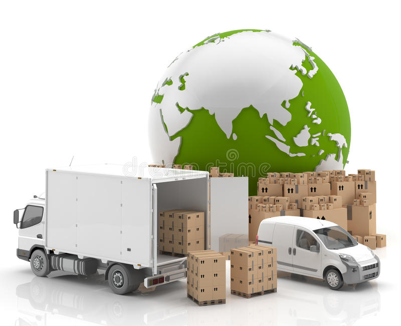 Trade in Asia - Transportation. National and international transport of goods by road stock illustration