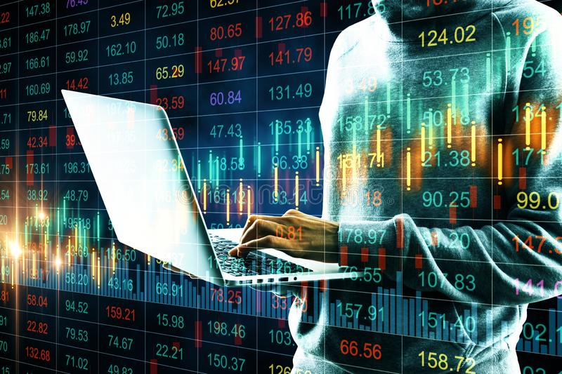 Trade and attack concept. Side view of hacker hands using laptop with candlestick forex chart on blurry background. Trade and attack concept. Double exposure stock illustration