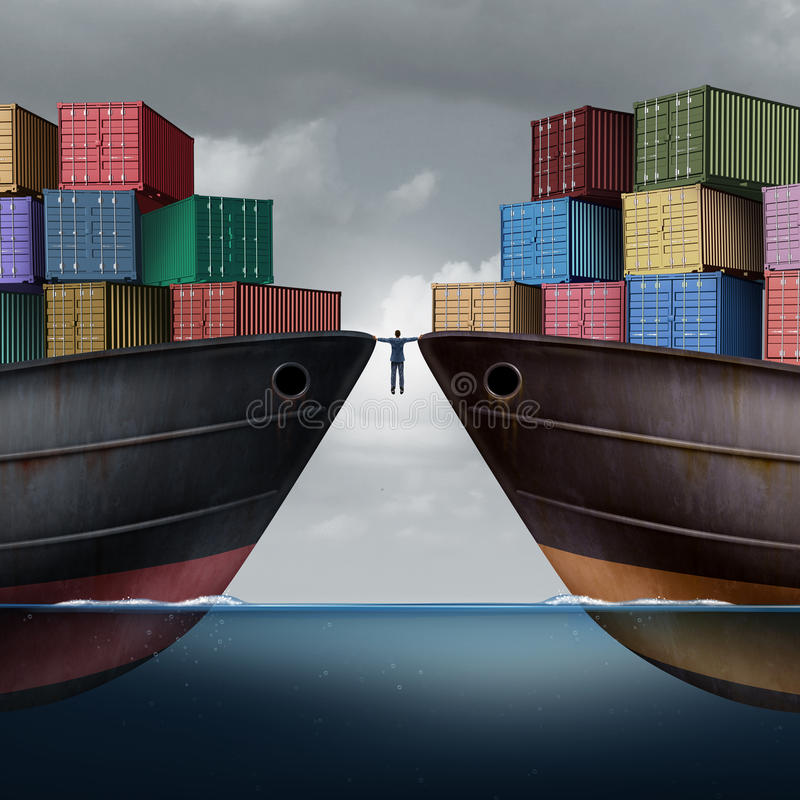 Trade Balance. Business concept as a businessman balancing between two ships with container freight cargo as an export and import logistic management symbol or stock illustration