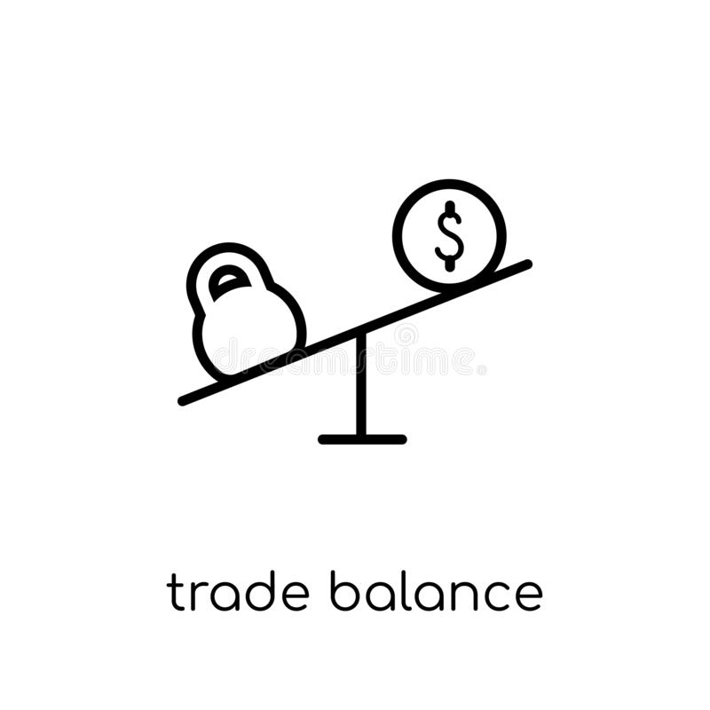 Trade balance icon. Trendy modern flat linear vector Trade balance icon on white background from thin line business collection royalty free illustration