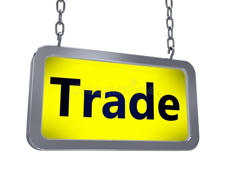 Trade on billboard. Trade on yellow light box billboard on white background vector illustration
