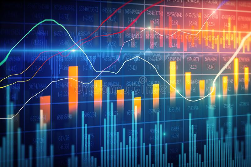 Trade and broker backdrop. Creative forex chart backdrop with candlestick. Trade and broker concept. 3D Rendering stock illustration