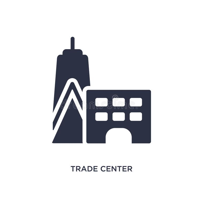 trade center icon on white background. Simple element illustration from buildings concept vector illustration