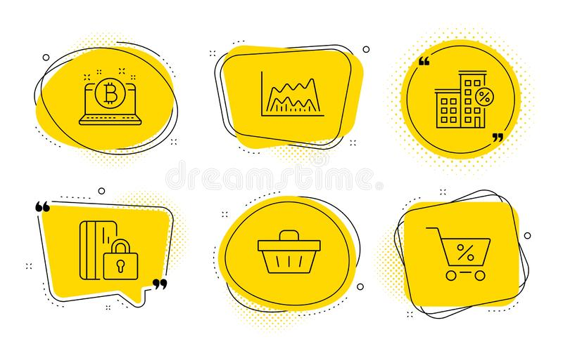 Trade chart, Blocked card and Loan house icons set. Shopping basket, Bitcoin and Special offer signs. Vector vector illustration