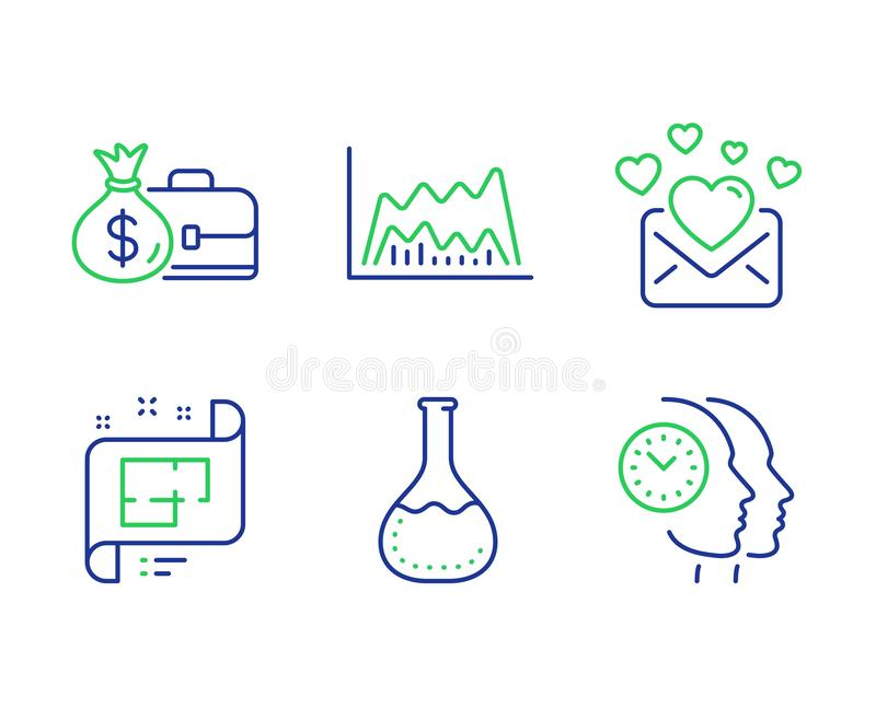 Trade chart, Love mail and Chemistry lab icons set. Salary, Architectural plan and Time management signs. Vector vector illustration