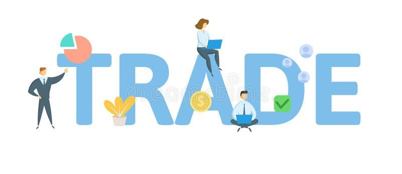 trade Concept avec des personnes, des lettres et des icônes Illustration plate de vecteur D'isolement sur le fond blanc illustration de vecteur