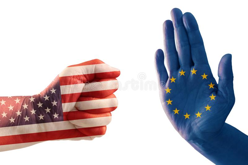 Trade conflict, fist with USA flag against a hand with European. Flag, isolated on a white background, political concept stock images