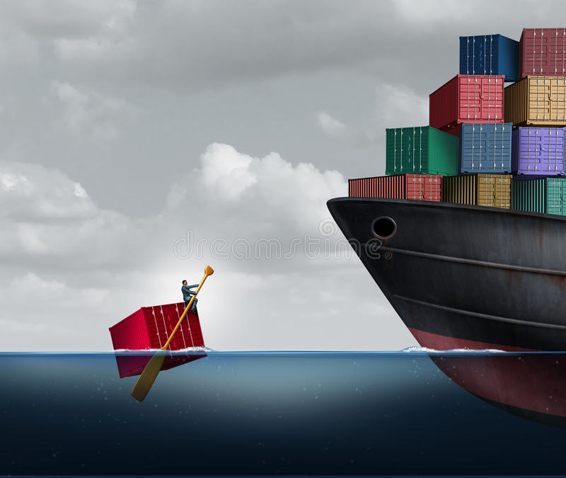 Trade Deficit. Business concept as a freight liner transporting huge cargo contrasted with one businessman rowing a single container in the ocean as an economic royalty free illustration