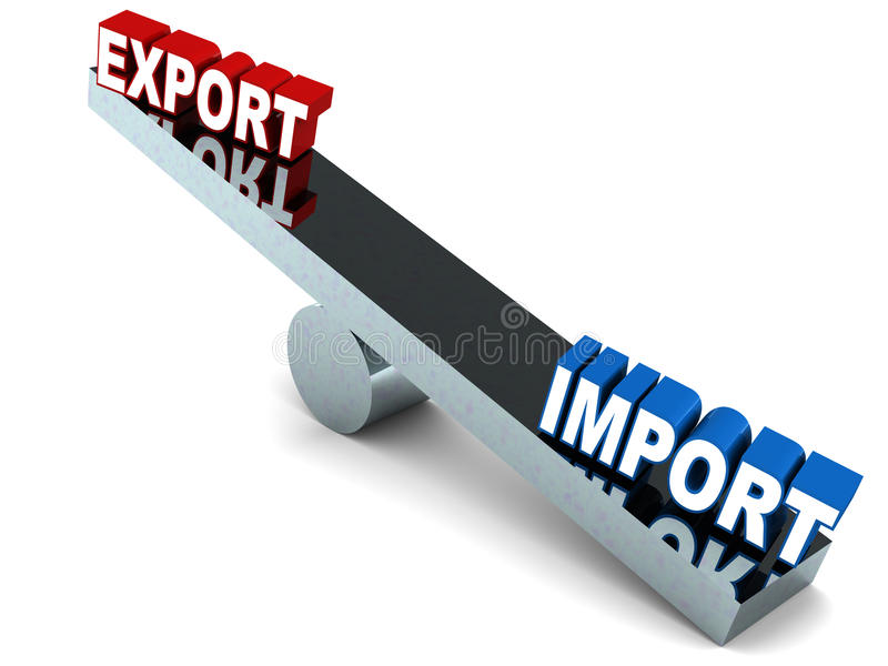 Trade deficit. Imports versus exports, on a metal see-saw, more imports, less exports, leading to trade deficit stock illustration