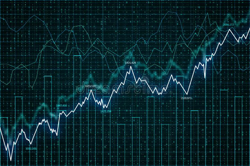 Trade and economy concept. Creative forex chart background. 3D Rendering stock illustration