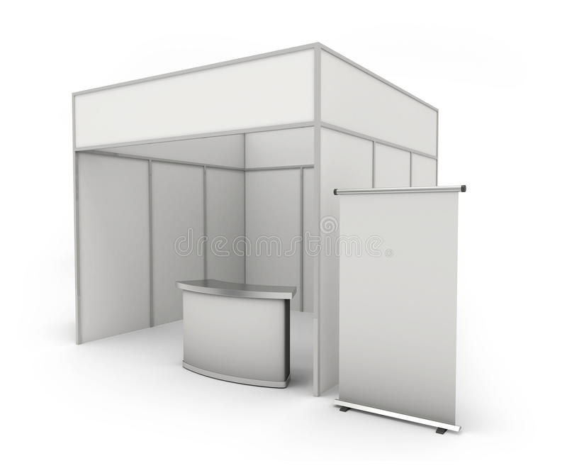 Trade exhibition stand and blank roll banner 3d render -. White booth for customizing vector illustration