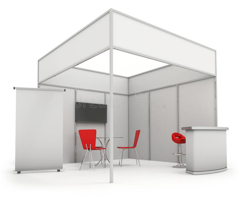Exhibition Stand Design Illustrator : Trade exhibition stand and blank roll banner d render