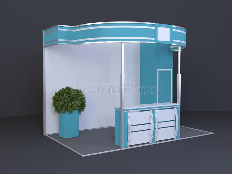 Trade exhibition stand 3x4 meters with plant 3D rendered illustration. template, mockup royalty free stock photos